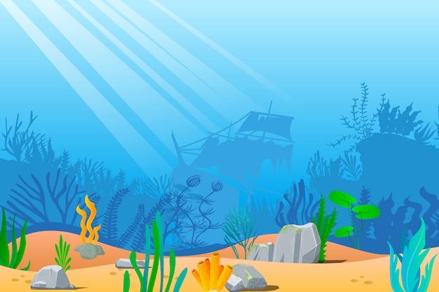 漫画の海の水中自然