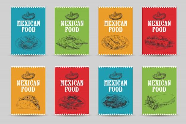 Старинные рисованной мексиканской кухни эскиз набор иллюстраций.