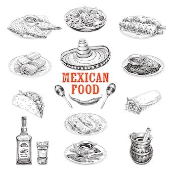 Старинные рисованной мексиканской кухни эскиз иллюстрации.