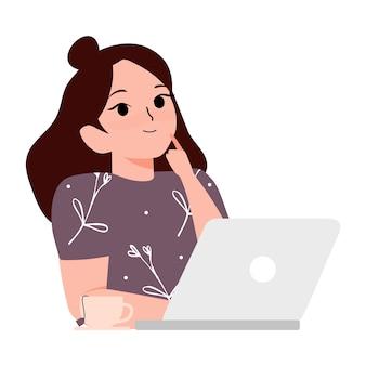 Идея концепции. улыбается молодая женщина, сидя с чаем и использовать ноутбук и мышления иллюстрации шаржа