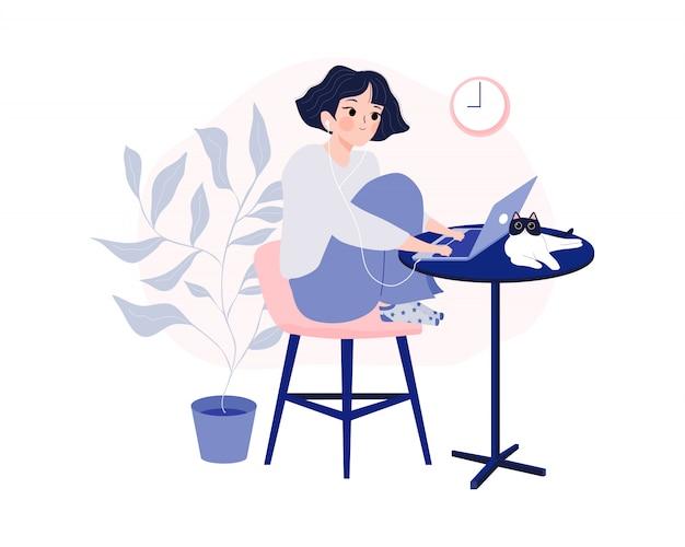 Работа на дому, коворкинг пространство и концепция домашнего офиса.
