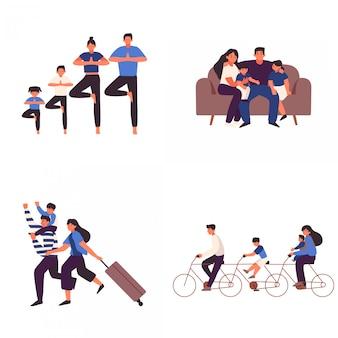 Множество счастливой семьи, делающей действия вместе