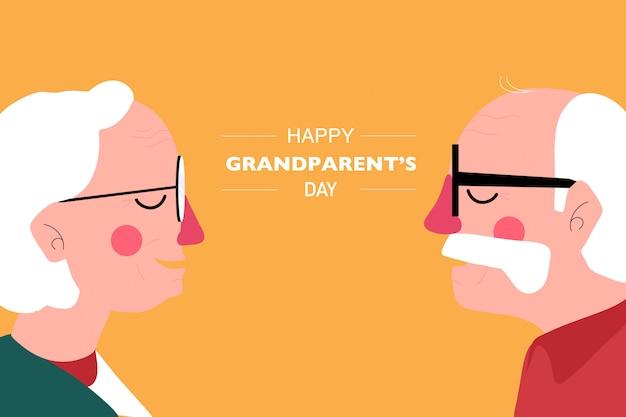 幸せな祖父母の日の背景。祖父と祖母の側面図