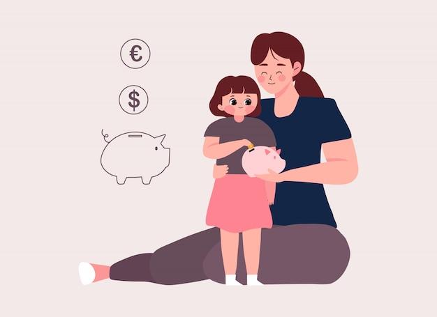 一日のコンセプトを保存するようにあなたの子供を教えます。母親のイラストは、貯金箱にコインを入れて保存することを学ぶ彼女の子供たちを教える