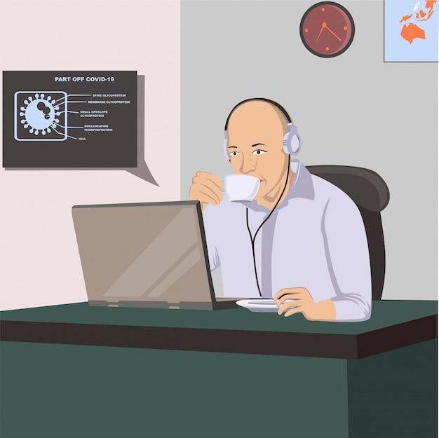 コロナウイルス隔離&在宅勤務イラスト