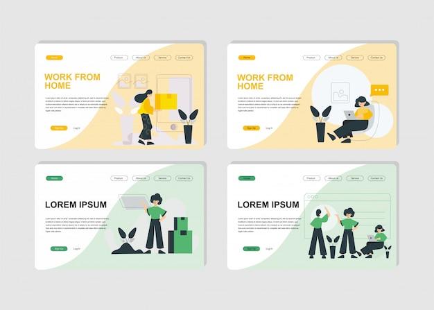 モダンなフラットデザインコンセプト、ビジネスランディングページ