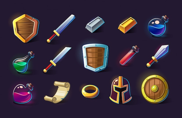 アイコン、オブジェクト、物、アイテムのセット。ゲームのコンセプトとデザイン。デザイン要素。魔法の魔法。ゲームアセットとタイル。ファンタジー、フィクションスタイル。