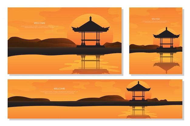 バリ島の美しい風景の夕日。オレンジ色の抽象的なグラデーションの背景、フラットなデザイン