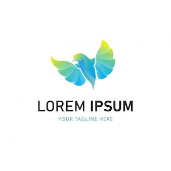 Красочный дизайн логотипа птицы. логотип градиент стиль животных