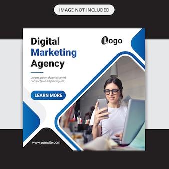 Цифровой бизнес маркетинг социальные медиа пост баннер и квадратный флаер