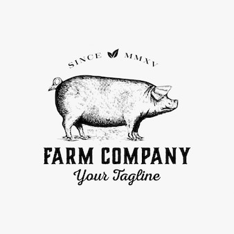 手描きの農場のロゴデザインベクトル
