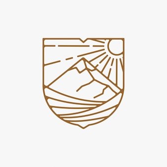 ラインアートぶどう畑のロゴデザインイラスト、山のロゴデザイン