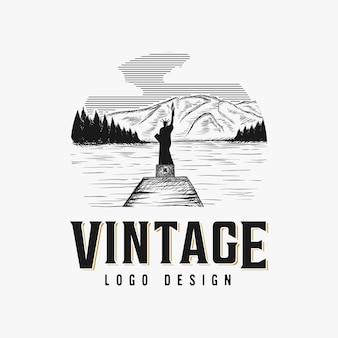 ヴィンテージ手描きの湖のロゴデザインのインスピレーション