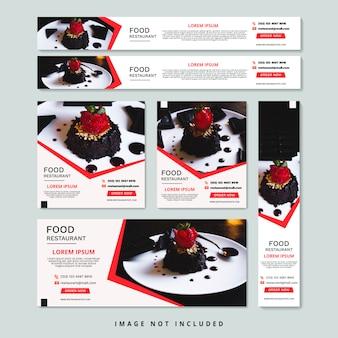 Элегантный ресторан веб-баннер набор шаблонов