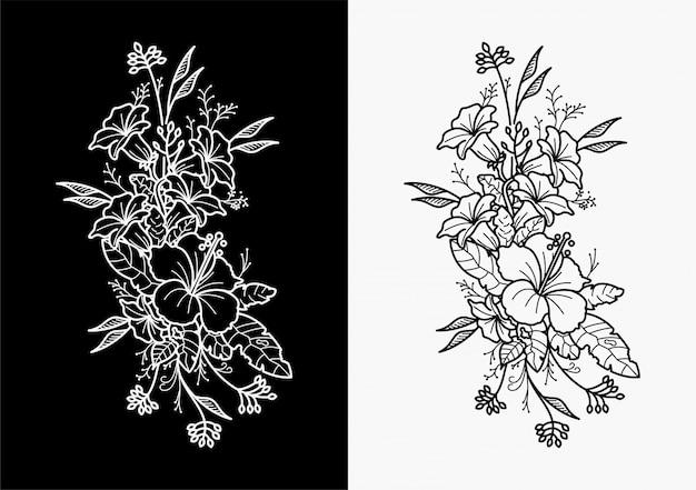 花の入れ墨は幾何学的な手を描く