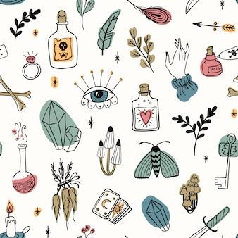 Ручной обращается волшебный бесшовный узор, колдовство каракули цветные символы. коллекция тайных и алхимических инструментов: глаз, хрусталь, корни, зелье, перо, грибы, свеча, ключ, кости