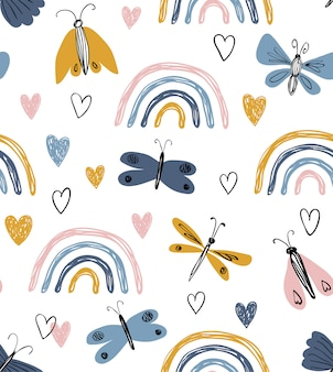 虹、ハート、蝶と北欧のシームレスなパターン。手で書いた