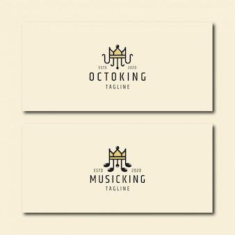 Установите короля осьминога и короля музыки, шаблон логотипа
