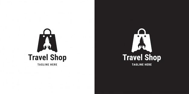 旅行店のロゴデザイン。ロケット、バッグ、クラウドショッピング、ロゴのテンプレート