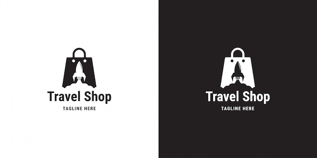 Дизайн логотипа магазина путешествий. ракета, сумка, облачный шоппинг, шаблон логотипа