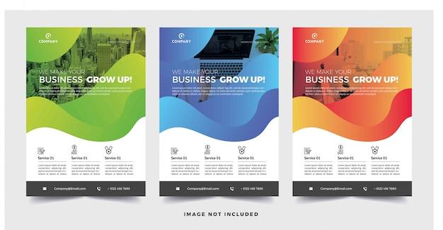 グラデーションの背景を持つ企業のビジネスチラシ