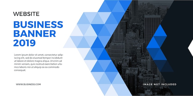 ウェブサイトと背景のプロの企業ビジネスバナーブルー図形