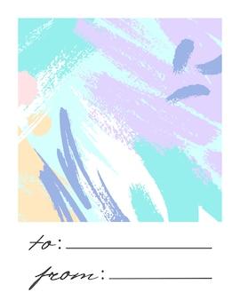 手描きの形状とインクで作られた柔らかなパステルカラーのテクスチャでトレンディな休日のグリーティングカード。ユニークなデザインは、プリント、チラシ、バナー、招待状、ポストカードなどに最適です。モダンなコラージュ。