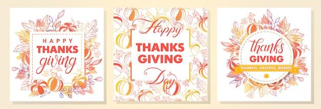 Коллекция поздравлений с днем благодарения, ручной росписью надписей, осенних букетов, тыкв и листьев. идеально подходит для печати, листовок, открыток, промо, праздничных приглашений и многого другого.