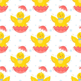 Пасха бесшовные модели. милые маленькие цыплята. пасхальный праздник декоративный фон