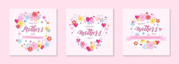 Связка карт дня матери с рисованной буквами, цветочными элементами, цветами и сердцами. красивые шаблоны идеально подходит для украшения, принты, баннеры, приглашения. день матери иллюстрации.