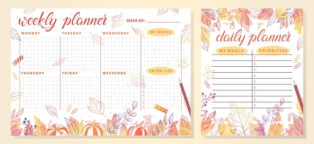 Модный шаблон еженедельного и ежедневного планировщика с осенними листьями и цветочными элементами в осенних тонах. идеальные шаблоны для органайзера и расписание с примечаниями. уникальная иллюстрация для эффективного планирования
