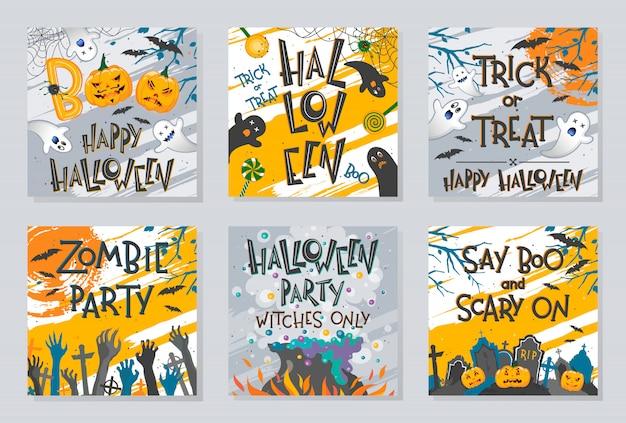 Связка плакатов на хэллоуин с руками зомби, призраками, тыквами, котлом и летучими мышами.
