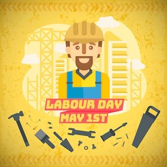 Плоский день труда фон