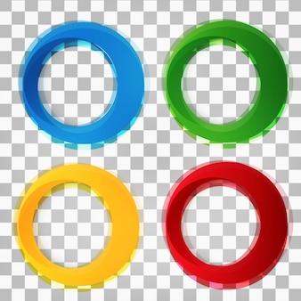 円形のカラフルなベクトル形状のセット。