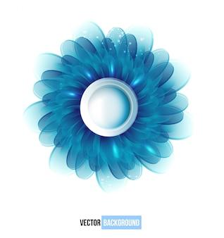ベクトル菊の青い花のベクトルカード。