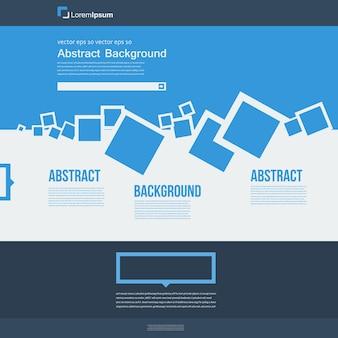 ベクターウェブサイト。抽象的な青いパンフレットの四角