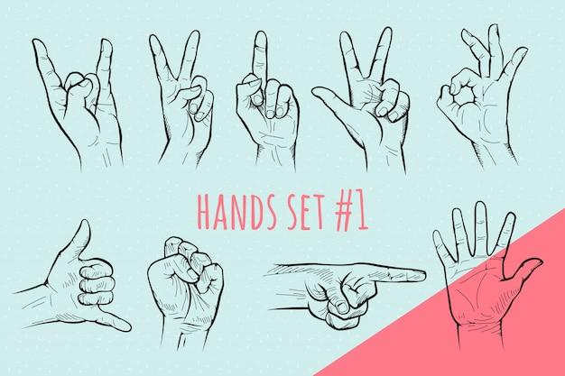 Жест рукой установлен. карандаш нарисованный эскиз.