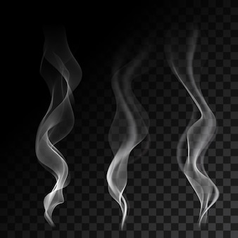 Легкие волны сигаретного дыма на прозрачном фоне векторных иллюстраций