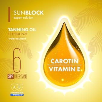 Капелька масла для загара с защитой от ультрафиолета