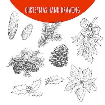 Рождественский эскиз сосны, еловых веток и шишек
