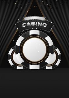 Тема казино с символами покера и покер карты на темном фоне.