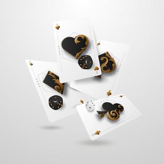 Падающие кубики и тузы казино, концепция выигрыша или азартных игр. покер и карточные игры. ,