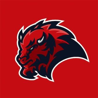 Шаблон логотипа талисмана игрового бизона киберспорта