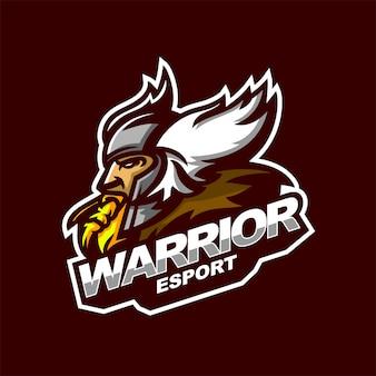 Шаблон логотипа талисман кибер-воин кибер спорт