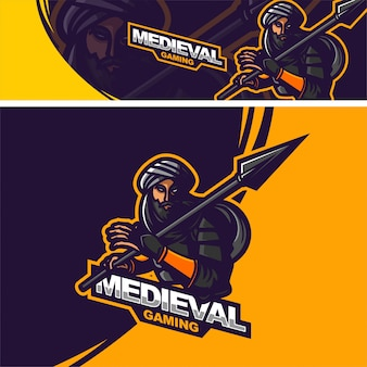 槍プレミアムマスコットロゴを保持しているアラビアの騎士