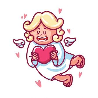 Симпатичный ребенок-амур с крыльями и сердцем.