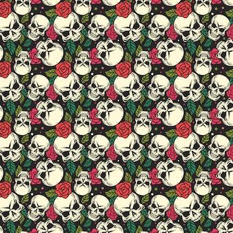 Бесшовный фон с черепом и розой