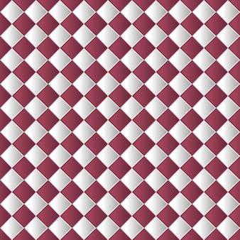 赤い色で幾何学的なチェス盤のシームレスなパターン背景