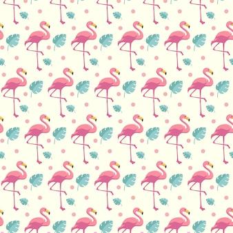 Симпатичные фламинго бесшовные летом шаблон фона