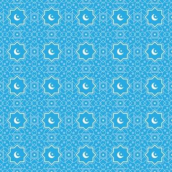 ハーフムーンとそれを星とイスラムの幾何学的なシームレスパターン背景テンプレート